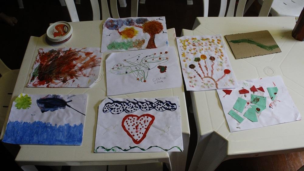 Desenhos e pinturas feitos pelas crianças na creche do ANDES-SN (Pedro Guerreiro/ANDES-SN)
